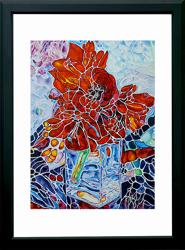 painting of amaryllis flowers done on Yupo Paper