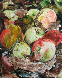 painting of apples in leaves done with acrylic on TerraSkin paper