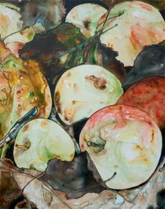 painting of apples in leaves done with acrylic on TerraSkin paper acrylic on TerraSkin paper
