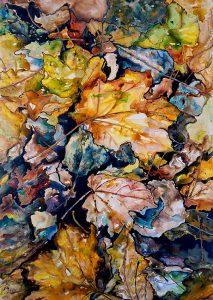 painting of leaves in autumn colors done with acrylic on TerraSkin paper