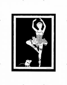 paper cut-out inspired by ballerina and her showing off her dance to a mouse