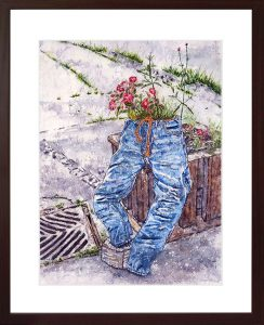 painting of a blue jeans resting on a flower box done with watercolor
