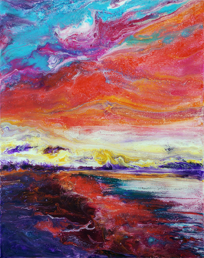 painting of a sunset at sea done with acrylic and mixed media on canvas with resin finish
