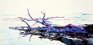 painting of a fallen branch on a beach done with acrylic on TerraSkin paper