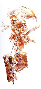 painting of falling leaves in the winter done with acrylic on TerraSkin Paper