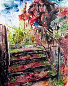 painting of steps and tree in red done with acrylic on Yupo paper