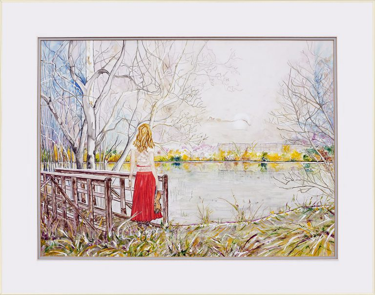 painting of a girl in a red skirt with violin standing on a bridge by the lake done with acrylic on TerraSkin paper