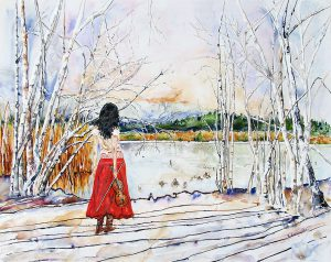painting of a girl in a red skirt with violin standing by the lake next to birch trees done with acrylic on TerraSkin paper