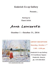poster of an event in Goderich gallery with Anna Lesniewska as guest artist