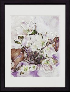 painting of hepatica flowers done with acrylic TerraSkin Paper