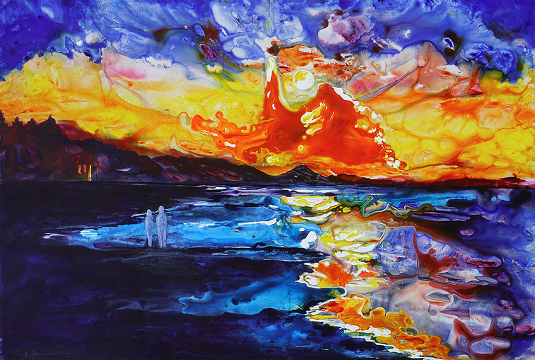 painting of sunset over sea done with acrylic and ink on terraskin paper