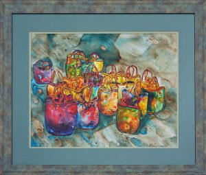 painting of baskets sitting on a ground in rainy water done with acrylic on Yupo paper