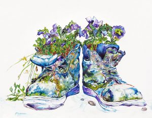 painting of boots with pansies done with acrylic on TerrraSkin Paper