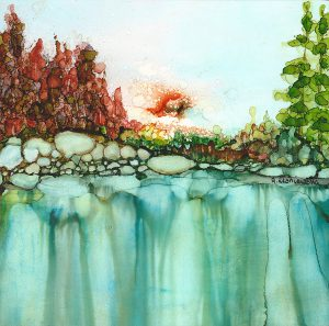 painting of a landscape with waterfall done with alcohol inks on Yupo paper and mounted on six by six by one and a half inches wood board