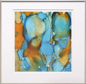 abstract painting of a couple in blue and orange done with alcohol ink on Yupo Paper