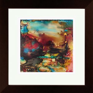 abstract painting of a landscape done with alcohol ink on Yupo Paper