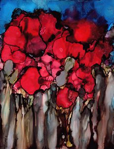 abstract painting of poppies done with alcohol ink on Yupo Paper