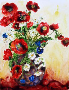 painting of poppies in a vase done wit