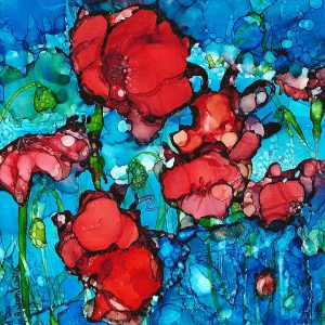 painting of poppies done with alcohol inks on Yupo paper and mounted on six by six by one and a half inches wood board