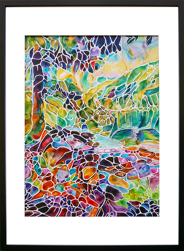 painting of landscape with tree, mountains, stones and water done on TerraSkin paper