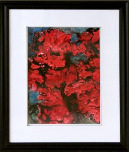 painting of flowers in red done with acrylic and ink on Yupo Paper