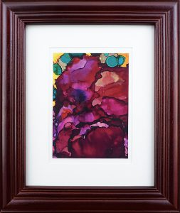 abstract painting of flowers called rose of Sharon done with alcohol ink on Yupo Paper