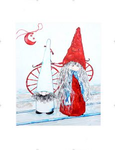 painting of two gnomes with the moon and red bike done with acrylic on Yupo paper