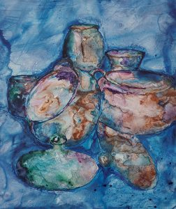 painting of stoneware with blue background in acrylic on Yupo paper