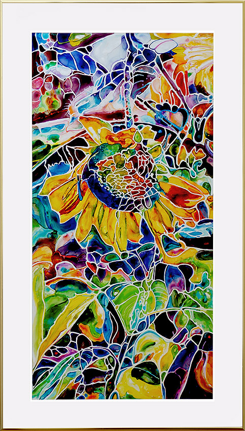painting of sunflower in rich colors done on TerraSkin paper