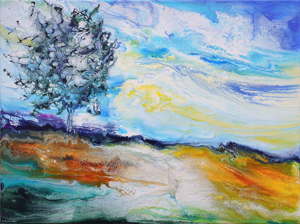 quite landscape with a tree on canvas