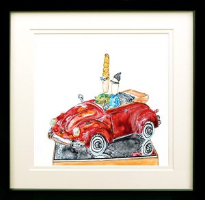 painting of a couple in a red Volkswagen beetle done with acrylic and mixed media on Yupo Paper