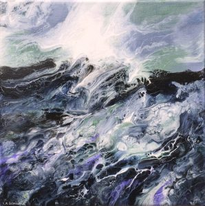 painting of stormy waves of a sea done on canvas