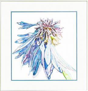 image of cornflower painted with acrylic on Yupo paper