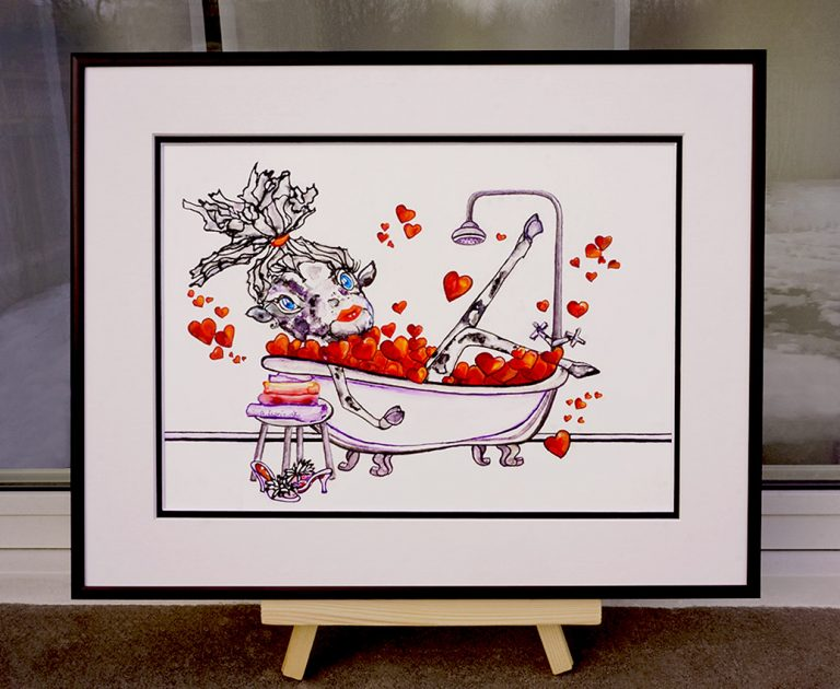 painting of a cow in a bath filled with hearts done with acrylic and mixed media on yupo paper