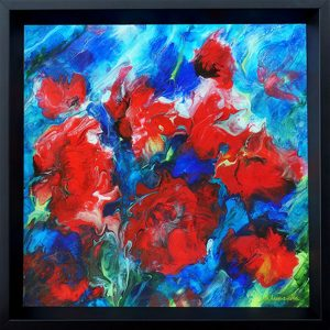 painting of red flowers with blue background done on canvas with resin finish displayed on a wall
