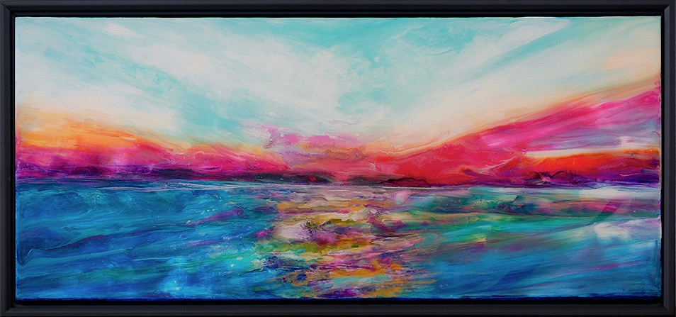 painting of a sunset done with acrylic and mixed media on canvas