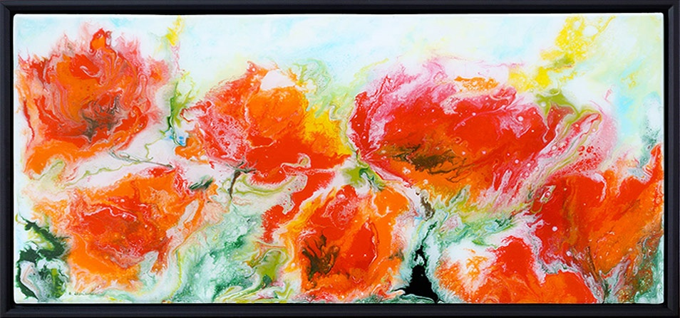 painting of poppies done with acrylic and mixed media on canvas with resin finish