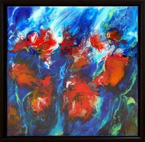 painting of red flowers with blue background done on canvas with resin finish