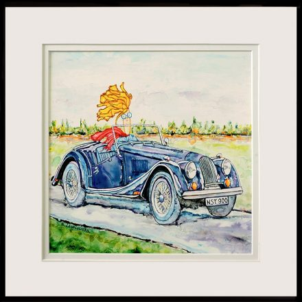 painting of man in his Morgan done with acrylic & mixed media on yupo paper