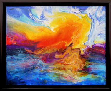 painting of stormy, orange, red and blue sky and water done on canvas with acrylic and mixed media